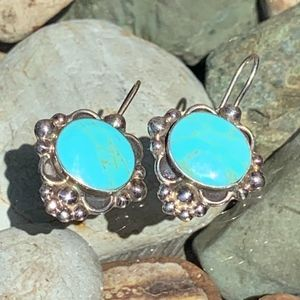 Sterling Turquoise Drop Earrings Mexico 925